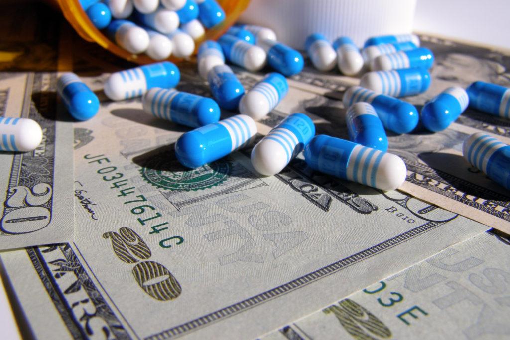 Blue pills on green
